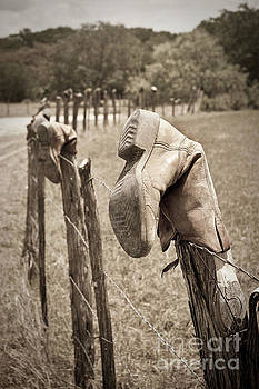Old Boot Fence by Justin Bower