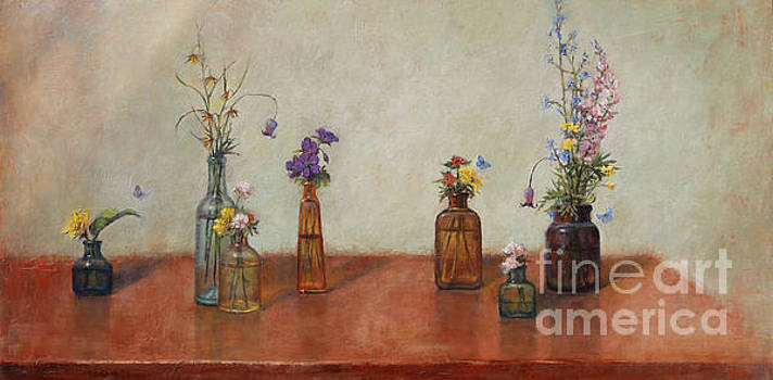 Old Bottles and Wildflowers by Lori  McNee