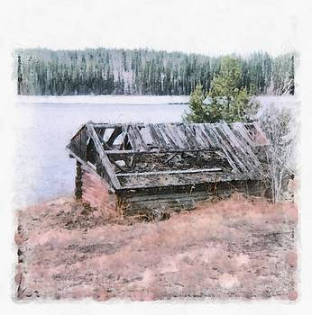 Old Cabin by the Lake by John Winner