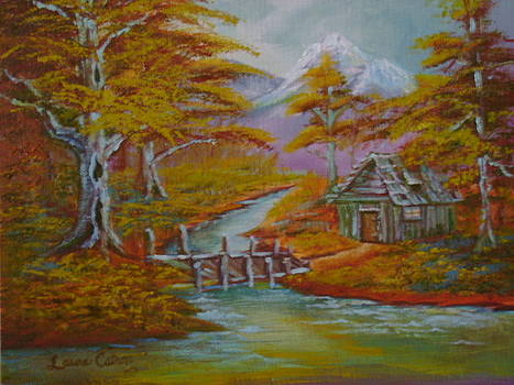 Old Cabin in fall by Laura J Catron