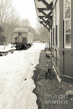 Old Caboose at Period Train Depot Winter by Edward Fielding