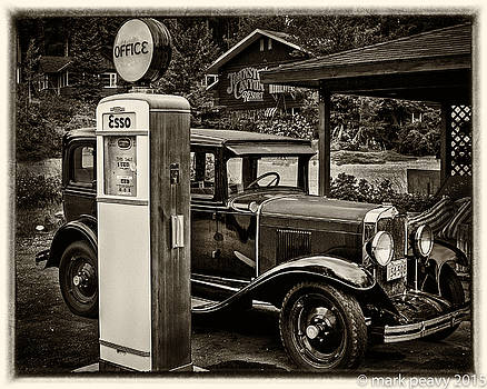 Old Car @ Gas Station by Mark Peavy