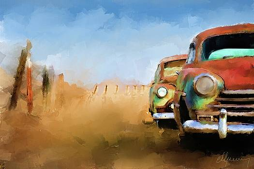 Old Cars Rusting painting by Michael Greenaway