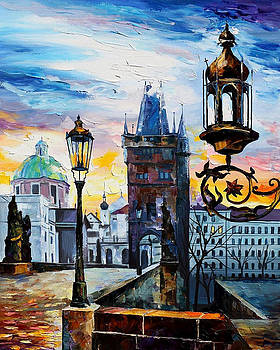 Old City - PALETTE KNIFE Oil Painting On Canvas By Leonid Afremov by Leonid Afremov