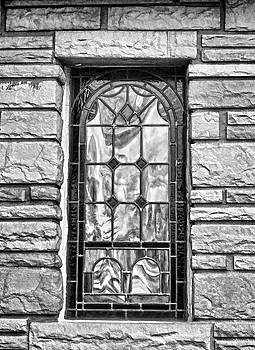 Old Country Church Stained Glass Window Black And White by Sandi OReilly