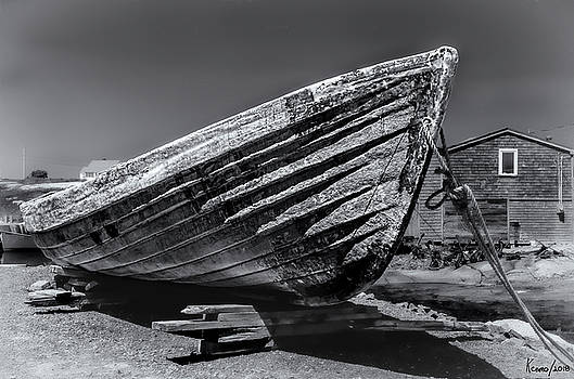 Old Dory in Black and White by Ken Morris