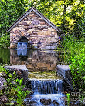 Old Farm Milk House with a Pond by George Oze