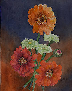 Old Fashion Zinnias by Connie Elste