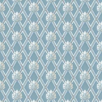 Old Fashioned Blue Lattice Fan Wallpaper Pattern by Tracie Kaska
