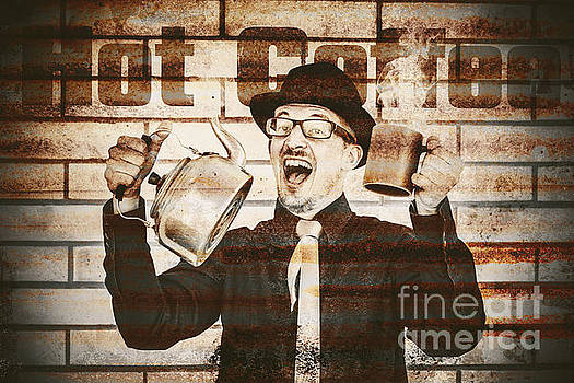 Old fashioned gent cheering to hot coffee by Jorgo Photography - Wall Art Gallery
