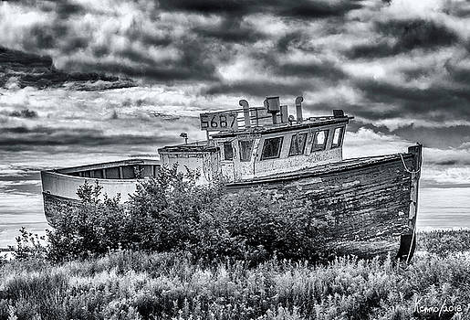 Old Fishing Boat, Marie Joseph, Nova Scotia by Ken Morris