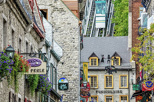 Old Funicular in Old Quebec by Daniela Constantinescu