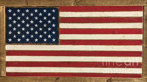 Dale Powell - Old Glory Displayed on Wood