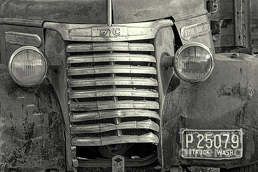 Old GMC Truck Grill bw by Jerry Fornarotto