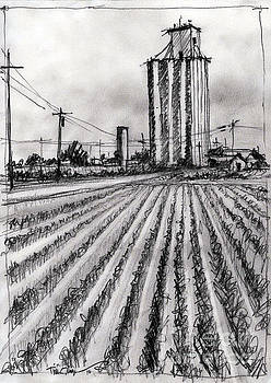 Old Goodpasture Elevator Sketch by Tim Oliver