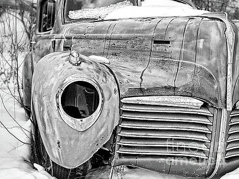 Old Hudson in the Snow Black and White 4x3 by Edward Fielding