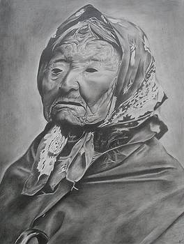Old Indian Woman in Scarf by Bennie Parker