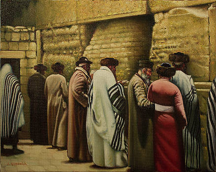 Old Jerusalem. Jewish Pilgrims at the Western Wall.  by Eduard Gurevich