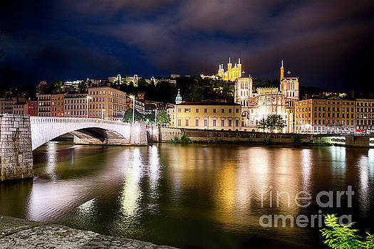 Old Lyon Night Scenic with the Bonaparte Bridge by George Oze