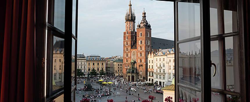 Old Main Square Krakow Poland Panorama by Steve Gadomski