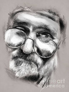 Old Man Drawing by Daliana Pacuraru