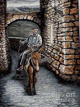 Old Man on a Donkey by Judy Kirouac