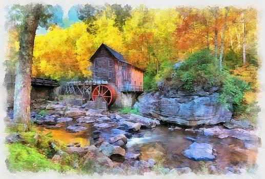 Old Mill Aquarelle by Maciek Froncisz