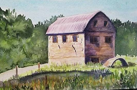 Old Mill at Mora by Lou Baggett