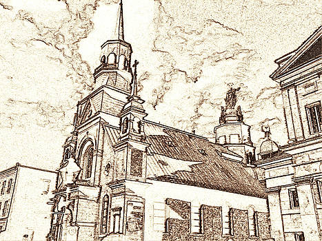 Art America Gallery Peter Potter - Old Montreal Chapel - Pencil