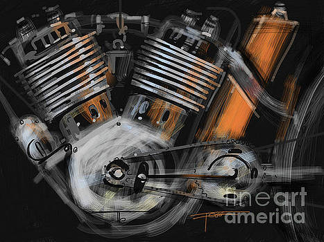 Old Motorcycle Engine  by Peter Fogg