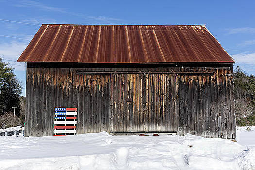 Old New England Barn with American Flag Pallet  by Edward Fielding