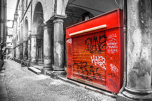 Old Newsstand Closed In Bologna Canvas - Technique Of Selective Color -  Black And White Only Red by Luca Lorenzelli