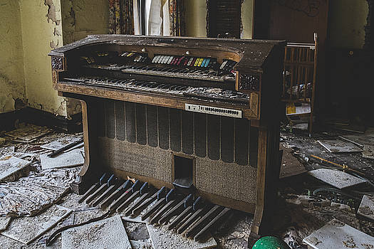 Old Organ Musical Instrument In Abandoned Building by Dylan Murphy
