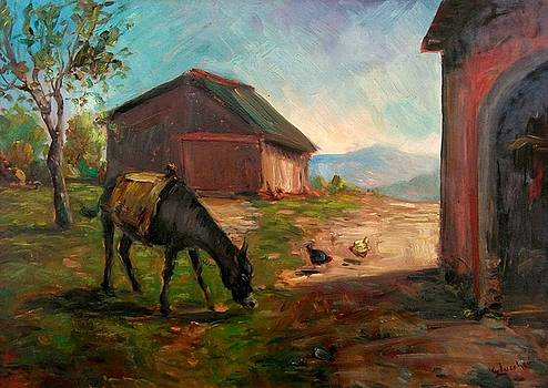 Old painting - Donkey with hens by Giorgio Lucchesi