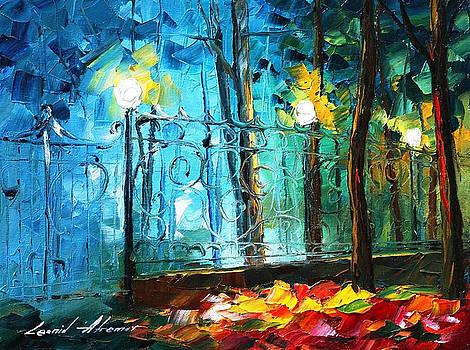 Old Park 2 - PALETTE KNIFE Oil Painting On Canvas By Leonid Afremov by Leonid Afremov