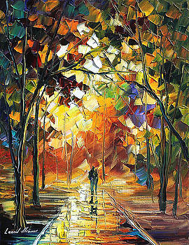 Old Park 3 - PALETTE KNIFE Oil Painting On Canvas By Leonid Afremov by Leonid Afremov