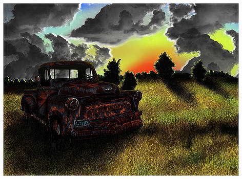 Old Pickup Truck at Sunset by Jonathan Baldock
