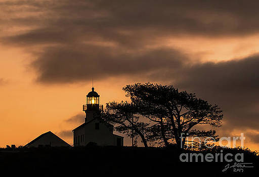 Old Point Loma Lighthouse at Twilight by Jeffrey Stone