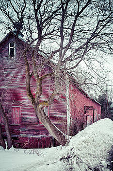 Old Red Barn Winter in Vermont by Edward Fielding