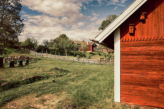 Old Red Farm Set In A Rural Nature Landscape by Christian Lagereek