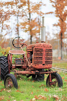 Old Red Tractor Quechee Vermont Fall by Edward Fielding