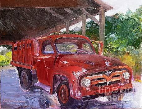 Old Red Truck - Mountain Valley Farms - Ellijay by Jan Dappen