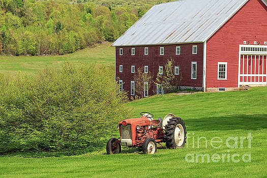 Old Red Vintage Ford Tractor on a farm in Enfield NH by Edward Fielding