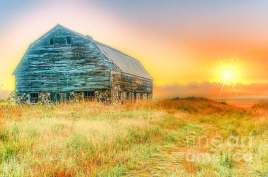 Old Rock Barn and Sunset by Peggy Franz