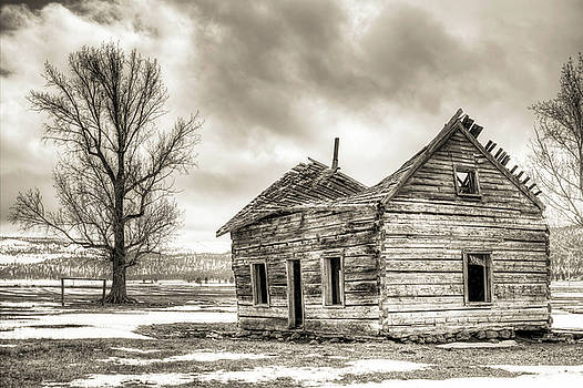 Old Rustic Log House in the Snow by Dustin K Ryan