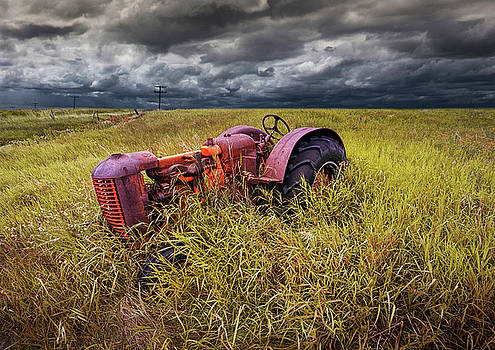 Randall Nyhof - Old Rusty Farm Tractor Abandoned on the Prairie