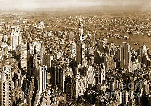 Pd - Old Sepia Print of Manhattan New York Accented with the Chrysler Building