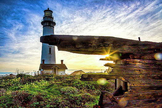 Old Ship Wreck And Lighthouse by Garry Gay