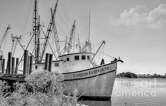 Old Shrimp Boat black and white by Kathy Baccari