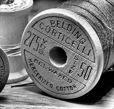 Old Spool of Thread in Black In White by Larry Jost